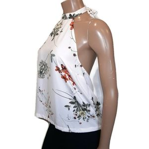 🍁 DYNAMITE Floral Halter Top Low Back Sleeveless